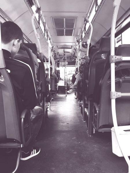 Bus People City Public Transportation City In Motion Vehicle Interior Urban B&w