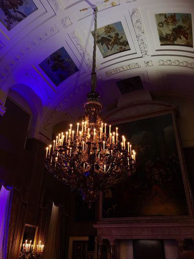 Low Angle View Ceiling Indoors  Hanging Illuminated Architecture No People Built Structure Paleis Op De Dam Kingsday2017 Night IPhoneography Amsterdam Capture Tomorrow