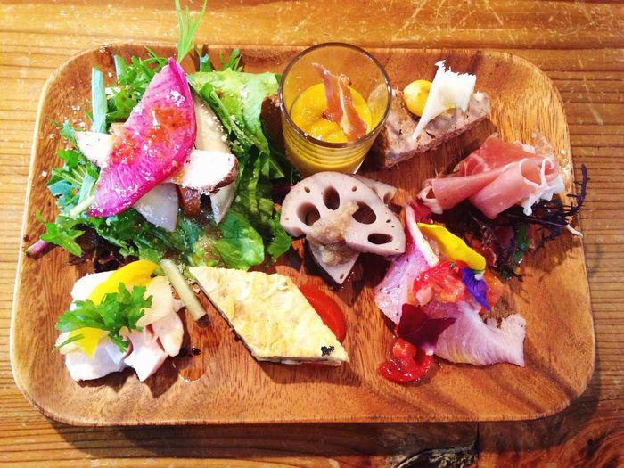 Enjoying A Meal Appitizer Salad
