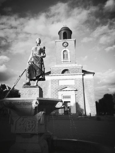 Cloud - Sky Religion Travel Destinations Outdoors Low Angle View Architecture Clock Tower No People City New Perspectives Blackandwhite Blackandwhite Photography Smartphone Photography Travel Smartphonephotography Built Structure Monochrome Photography Black And White Husum Sky Sculpture History The Week On EyeEm