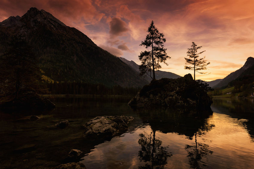Ramsau, Germany Beauty In Nature Cloud - Sky Day Lake Landscape Mountain Mountain Range Nature No People Outdoors Reflection Scenics Silhouette Sky Sunset Tranquil Scene Tranquility Tree Water Waterfront