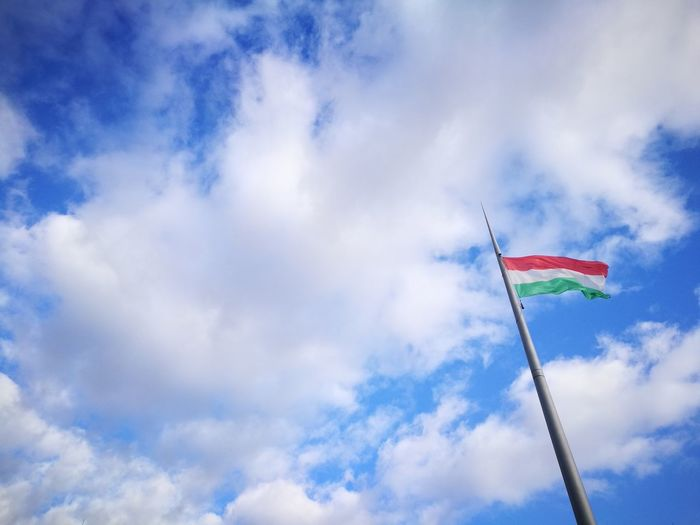 Budapest BP Magyarország Zászló Red White Green Red Color Green Color White Color Hungary Hungary🇭🇺 Hungarianflag Flag Sky Tricolor Sunshine Clouds Wind Moving Movement Cloud - Sky Flag Low Angle View Sky Blue Patriotism No People Outdoors Day