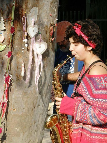 Streetart Saxophonist Beautiful Girl Thisio Athens Athens, Greece Street Artist Streetphotography