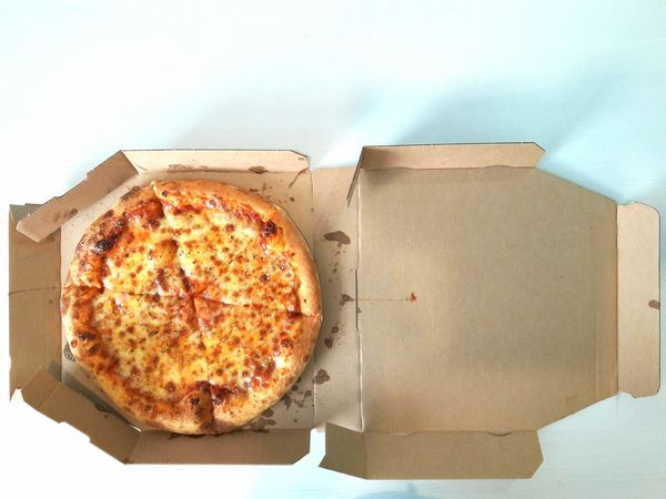 Food Ready-to-eat Freshness High Angle View Served Still Life Pizza Delicious Cheesy Cheese Round Circle Paper Box Slices