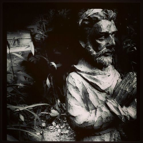 SaintFrancis Blackandwhite Vignette Bw prayerstatue prayer mobilephotography