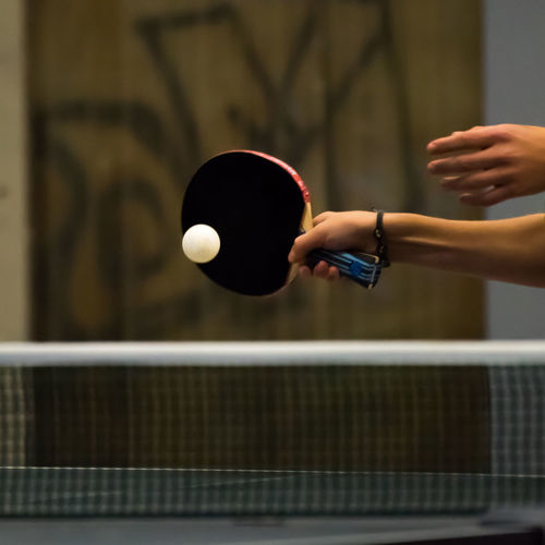 Ball Day Go-west-photography.com Holding Human Body Part Human Hand Indoors  Leisure Activity Lifestyles Net One Person Playing Real People Sport Sports Table Tennis Tabletennis Taking A Shot - Sport