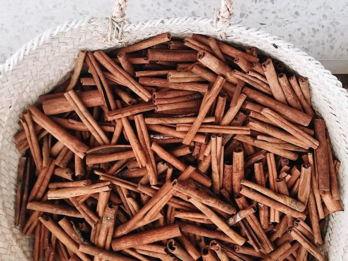 High angle view of firewood in container
