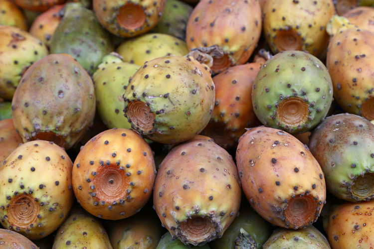 Fresh Opuntia ficus-indica (Indian fig, Prickly pear) cactus fruits sale on retail market stall display, close up Abundance Backgrounds Beautifully Organized Cactus Fruits Close-up Exotic Food Food And Drink Freshness Fruit Full Frame Healthy Eating Indian Fig Large Group Of Objects Market Opuntia Opuntia Ficus-indica Prickly Pear Prickly Pear Cactus Ready-to-eat Retail  Ripe Sale Taste Tropical