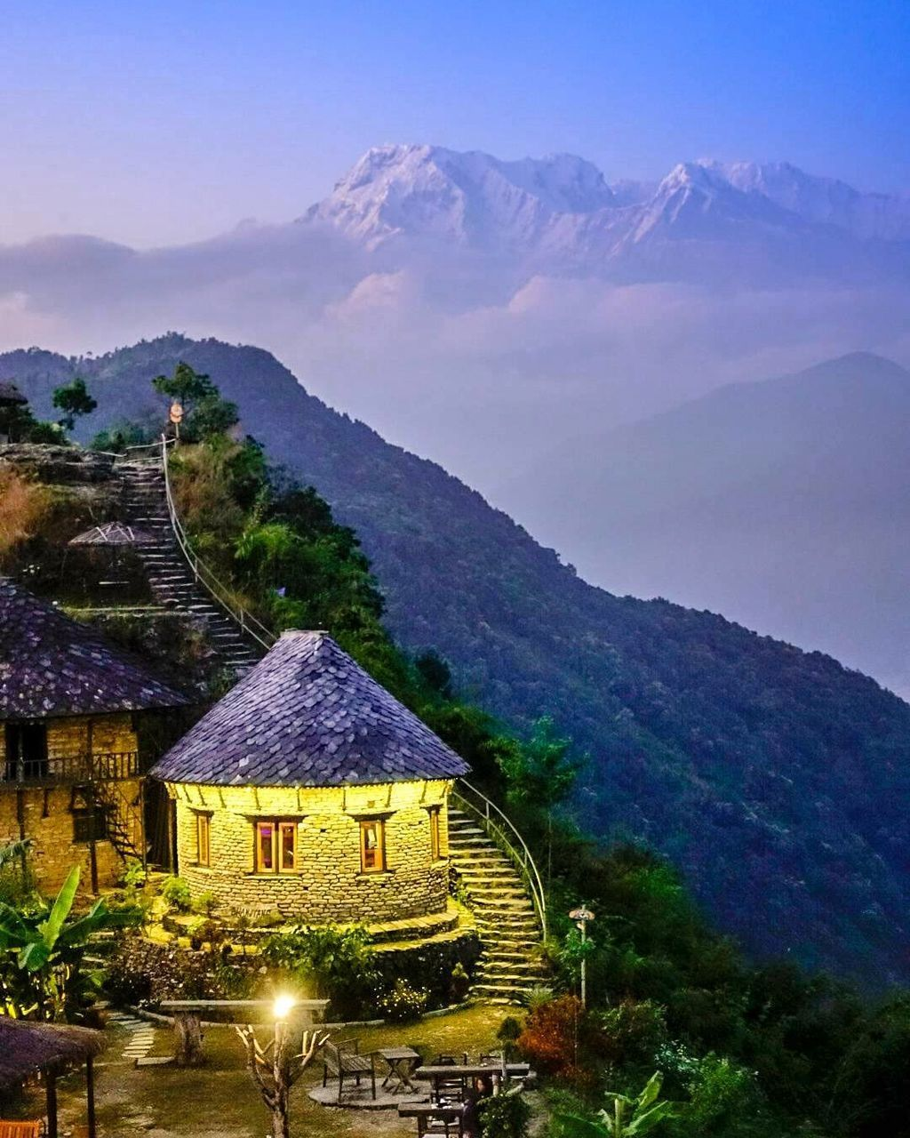 mountain, built structure, architecture, house, building exterior, outdoors, no people, scenics, nature, beauty in nature, day, landscape, tree, sky, mountain range