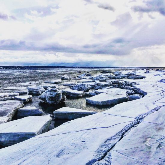 Saint Lawrence River/Fleuve Saint-Laurent River View River View Cold Temperature Winter Snow Sky Cloud - Sky Tranquility Scenics - Nature Beauty In Nature Tranquil Scene Nature Horizon Land Covering White Color Water Day Frozen No People Sea Horizon Over Water
