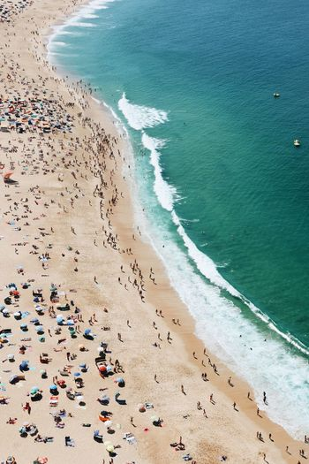 Nazare beach in portugal from above
