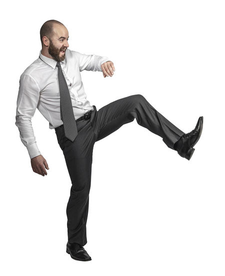 Full length of young man against white background
