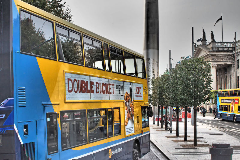 Architecture City Sky Tree Day Bus Outdoors Dublin Bus Transportation Text Public Transportation No People Mode Of Transport Dublin City KFC ❤️ Building Exterior Built Structure Land Vehicle A Taste Of Dublin Bus Advertising Double Bucket