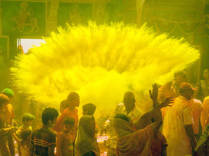 Holi yellow Paint The Town Yellow Celebration Crowd Day Enjoyment Holi Large Group Of People Leisure Activity Lifestyles People Powder Paint Real People Togetherness Tradition Traditional Festival Women Yellow