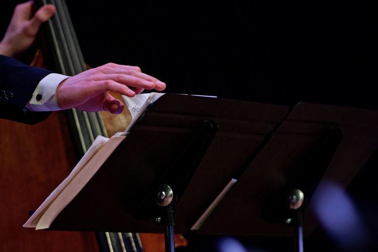 Jazz big band Jazz Concert Music Arts Culture And Entertainment Bass Player Close-up Contra Bass Human Hand Jazz Music Men Music Cheet Musical Instrument Musician