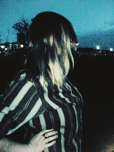 Night Long Hair Outdoors Person Sky Young Adult City Life