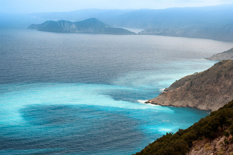 coastline of cephalonia Beauty In Nature Blue Cephalonia Cliff Coastline Day High Angle View Horizon Over Water Idyllic Landscapes With WhiteWall Mountain Mountain Range Nature Rock - Object Rock Formation Scenics Sea Seascape Sky Tranquil Scene Tranquility Water