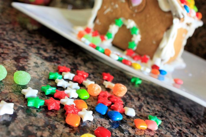 Follow the candy trail to home Candy Christmas Decor Food Gingerbread Gingerbread House Holidays Icing Multi Colored Sweet Food Tradition