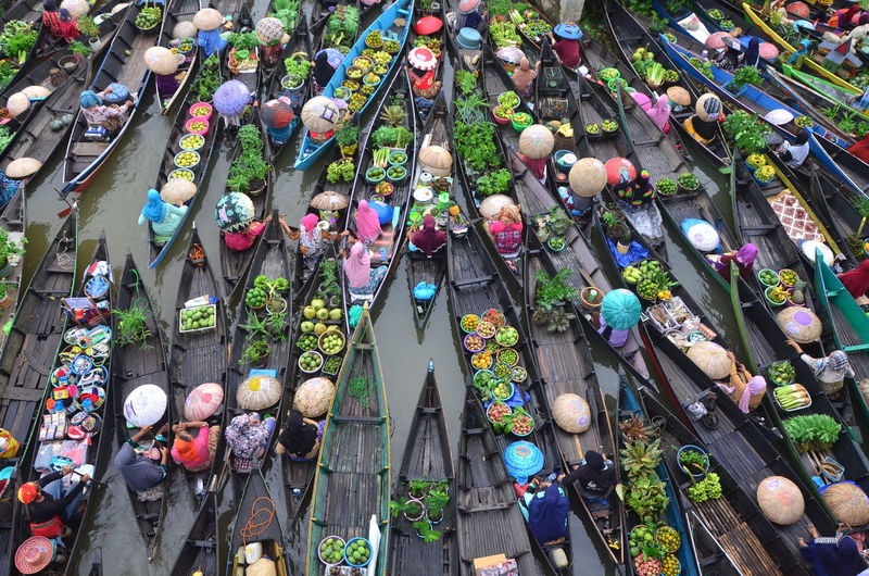 High angle view of people at market stall