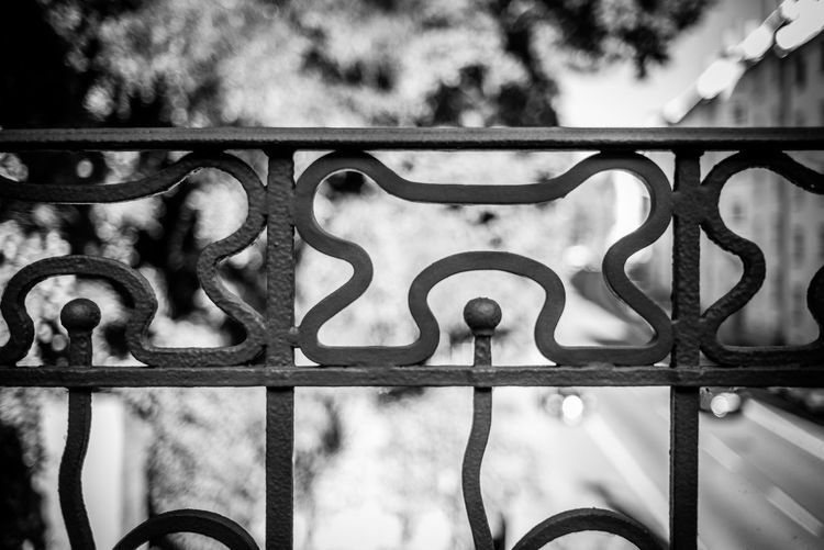 Focus On Foreground Metal Barrier Boundary Fence Safety No People Security Wrought Iron Railing Protection Gate Close-up Day Pattern Architecture Outdoors Iron - Metal Nature Design Iron
