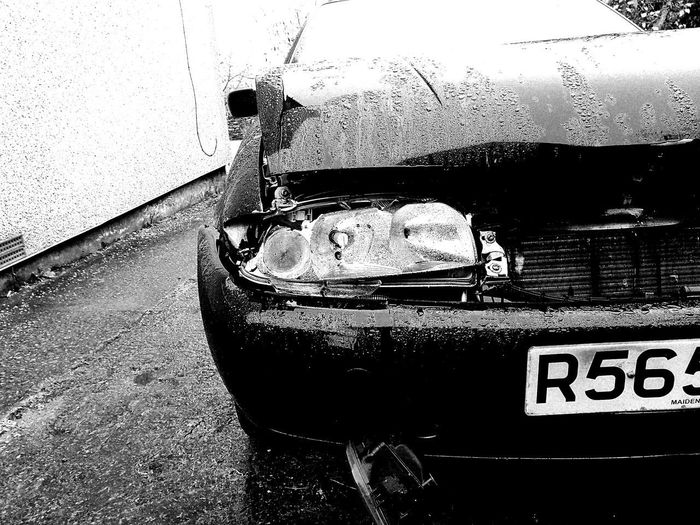 Water Drop Wet Sky No People Close-up Day Smashed Fiesta PoorCar BrokenCar Monochrome Monochrome Photography