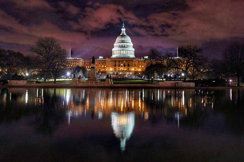 Love walking around DC Reflections Sony Photography SONY A7ii Night Architecture Illuminated Sky Built Structure Travel Destinations Building Exterior Politics And Government