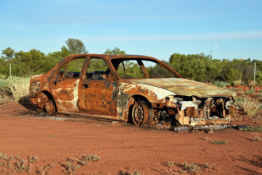 A rusted out car on highway 4 near Yulara Australia. Australia Desert Northern Territory Outback Car Rusted Rusty Metal