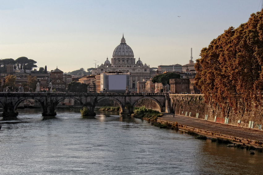 Architecture Basilica Di San Pietro In Vaticano Bridge - Man Made Structure Building Exterior Built Structure Castel Sant'Angelo Dome Italy Lazio, Italy Lungotevere No People Outdoors Place Of Worship Ponte Sant'Angelo River Roma Sunset Tevere River Tor Di Nona Tramonto Travel Destinations Tree Turism Turismo Water