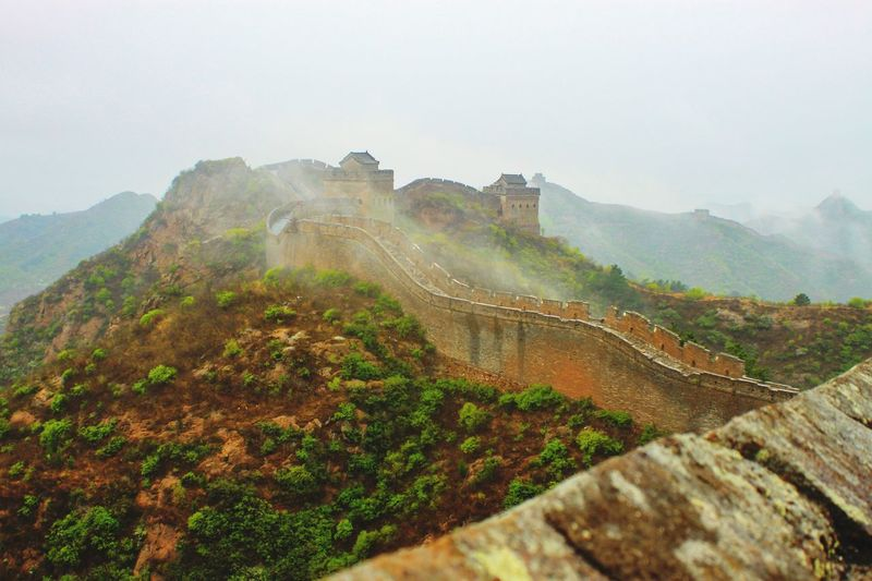 Misty Morning Mist Great Wall Of China Mountain Environment Scenics - Nature Nature Landscape Fog Tranquility Sky Land Mountain Range Tranquil Scene Beauty In Nature No People Plant Travel Destinations Day Tree Architecture Outdoors