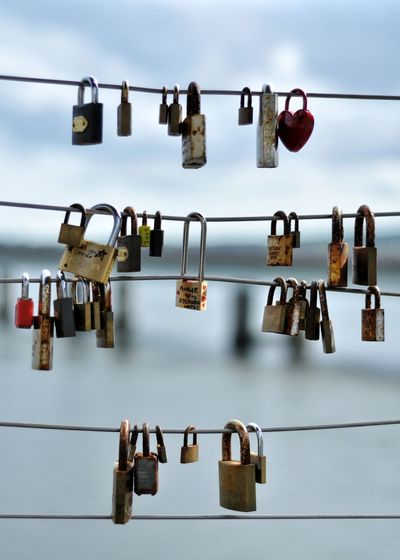 Love lockets Hanging Large Group Of Objects Water Blue Cloud - Sky Cable In A Row Group Of Objects Locket_of_love Love ♥ Locks Padlocks Streetphotography Scotland River Bridge