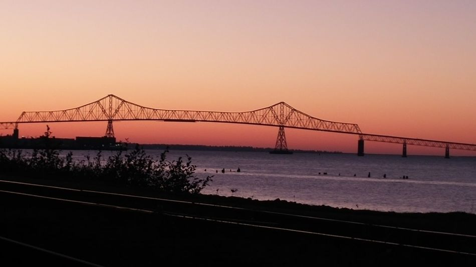 Sunset Bridge - Man Made Structure Connection Silhouette Suspension Bridge Sky Sky Porn Sunset_collection Astoria, Oregon Astoria, OR Northcoastrecovery Columbia River Astoria-megler Bridge
