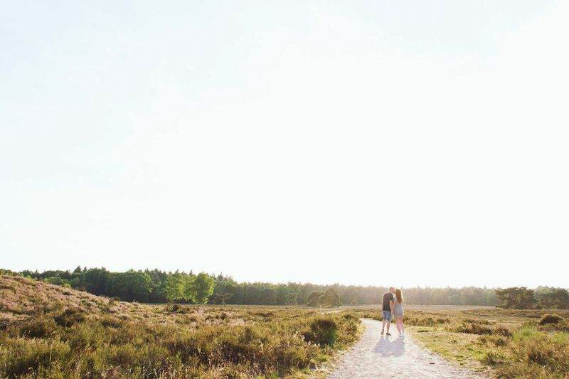 Engagement Proposal Love Couple Walking Full Length Summer Sunset Nature