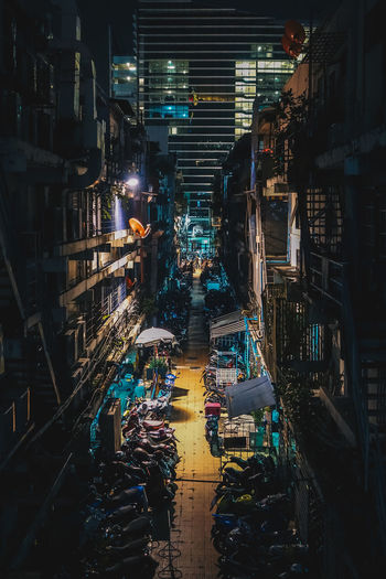 Bangkok cityscape at night. Bangkok Architecture Building Exterior Built Structure City High Angle View Illuminated Night No People One Point Perspective Residential District Street
