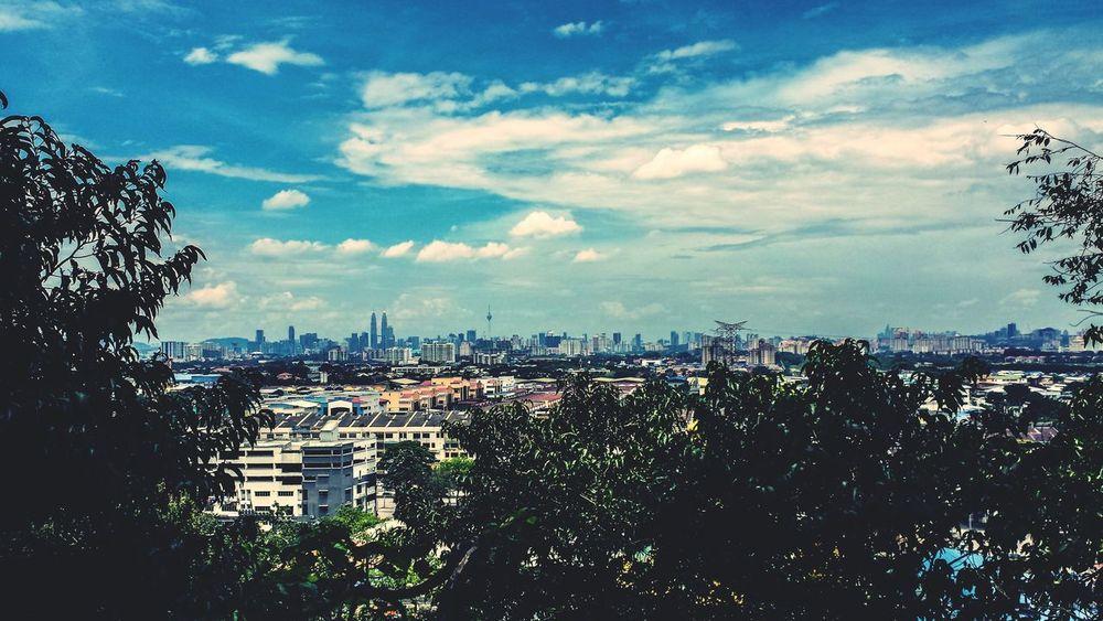 High Angle Cityscape Blue Sky Afternoon Petronas Towers  Kuala Lumpur Malaysia Southeast Asia ASIA Outdoors Sunshine City Sky