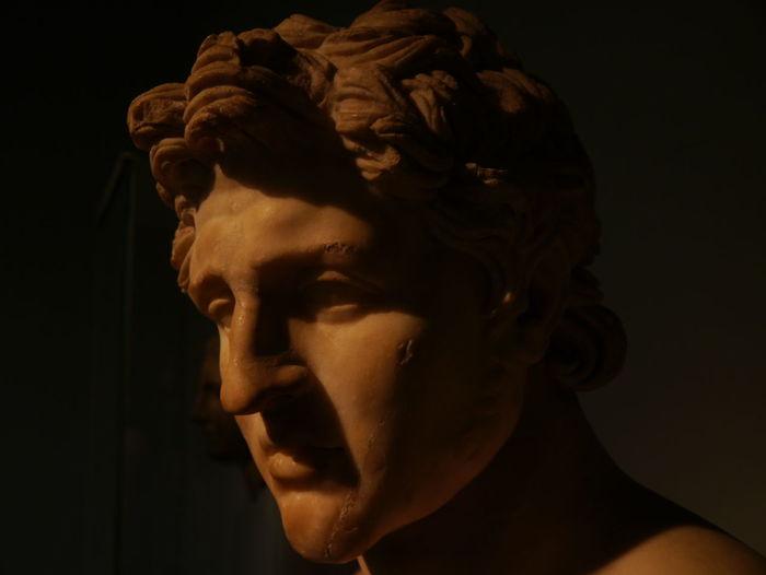 Close-up portrait of statue against black background