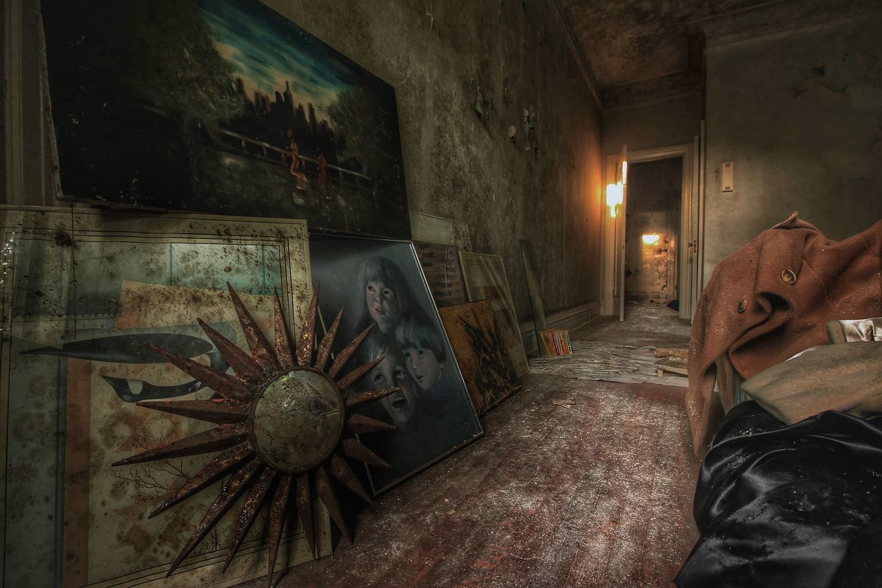Old Paintings In Abandoned Room