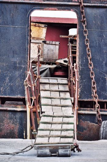 Rusty Ladder Attached To Ship At Puerto De Las Palmas