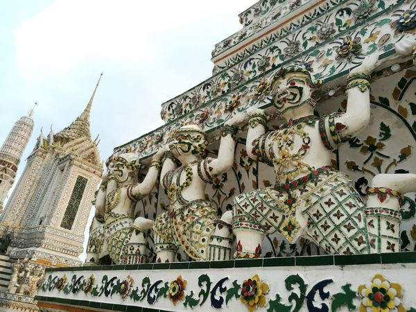 Ramikiens at Wat Arun Ramakien Watarun Watarunbangkok Bangkok Thailandtravel Thailand Photos Religion And Beliefs Sculpture Chedi