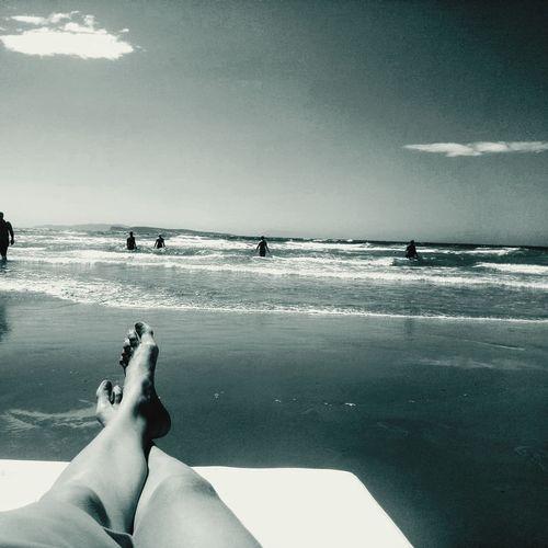 Summerday Water Low Section Sea Beach Human Leg Sky Horizon Over Water Close-up Cloud - Sky Wave