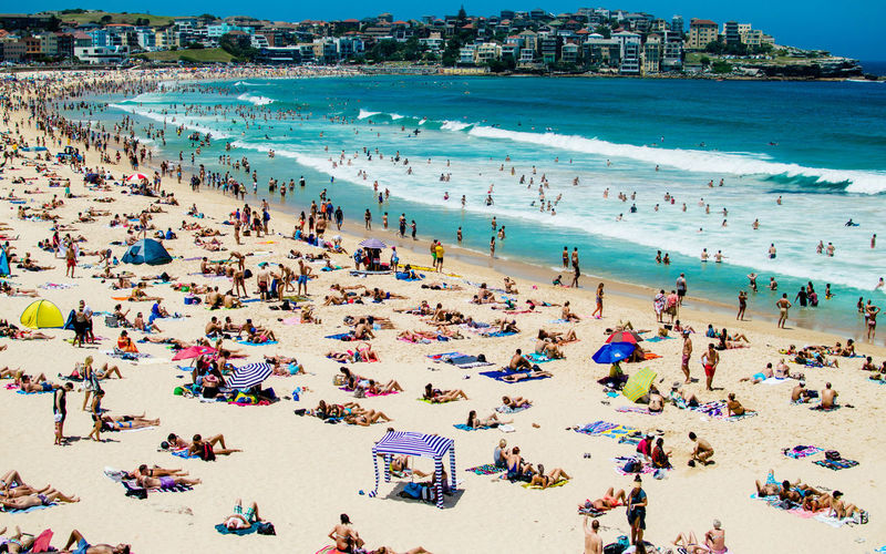 Adult Adults Only Beach Bondi Beach Crowd Day Happiness ♡ High Angle View Holidays Large Group Of People Outdoors People Relaxing Sea Summer Sydney Traveling Vacations Wanderlust Water