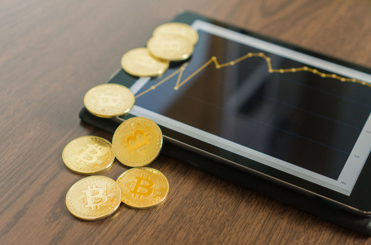 Business Gold Golden Rich Tablet Bitcoin Chart Close-up Coin Communication Cryptocurrency Currency Day Finance Financial Food Gold Colored Indoors  Money No People Savings Success Table Wood - Material Yellow