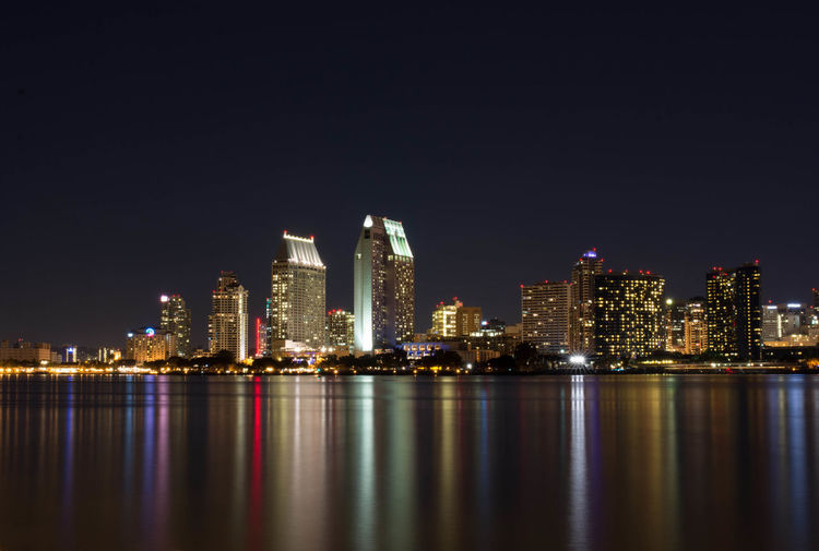 Architecture Building Exterior Built Structure City Cityscape Downtown District Illuminated Modern Night No People Outdoors Reflection San Diego Sea Sky Skyscraper Tourism Travel Destinations Urban Skyline Water Waterfront