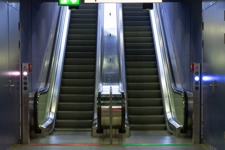 Cologne subway station, Up and down with the escalator Cologne Köln U-Bahn Architecture Building Built Structure Empty Entrance Escalator Illuminated Indoors  Metal Moving Walkway  No People Staircase Subway Technology Transportation Ubahn
