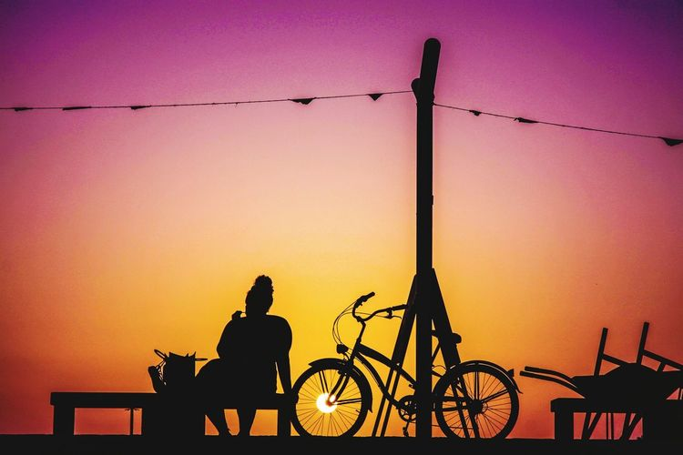 Sunset BEACH Sunset Silhouette Bicycle Sky Orange Color Sun Riding Motorcycle Biker Motorcycle Racing Motorized Vehicle Riding Calm Shore Horseback Riding Cycling