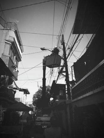 Meralco Built Structure Manual Worker Building Exterior Outdoors Adults Only Real People Only Men Electricity  Working Black & White