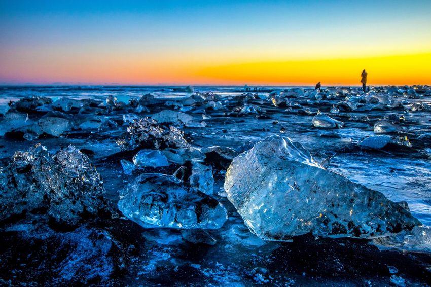 Diamond Beach Jökulsárlón Glacier Lagoon Iceland Iceberg Ice Cube Landscape Iceland The Week On EyeEm Jökulsárlón Beach Jökulsárlón Diamond Beach Travel Photography Travel Destinations Sea Nature Beauty In Nature Tranquility Tranquil Scene Water Beach Blue Pebble Beach Close-up Horizon Over Water Scenics Sunset No People Sky Outdoors Cold Temperature Clear Sky Day