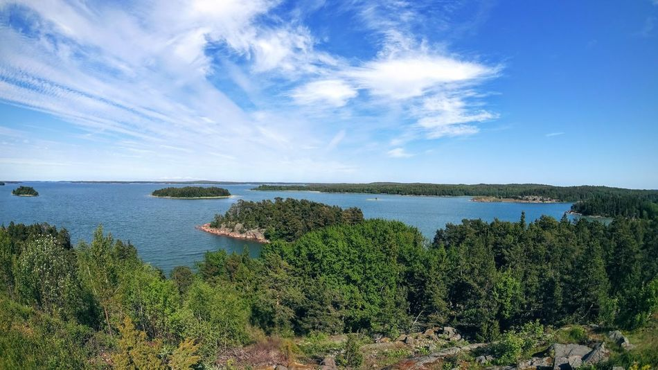 from the top of the hill, the calm sea around Aland Aland Islands Beauty In Nature Exploring Fotostrasse Outdoors Tranquil Scene Tranquility Vacation Visit Ala Voyage Water Waterfront