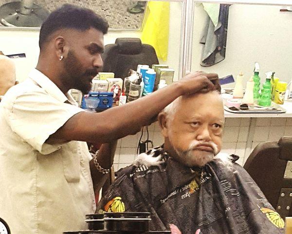 Hardworking barber and Dad's new hairdo Barber Barber Shop Barbershop #India #haircut #oldman #EyeEmNewHere #EyeEm #Dad First Eyeem Photo EyeEmNewHere