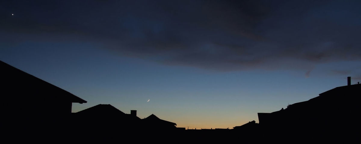 City at night Atmosphere Blue Cities At Night Horizon Over Land House Roof House Top Landscape Light Moon Orange Color Outdoors Planet Silhouette Star Sunset Tranquility Twilight Urban Urban Scene Weather Learn & Shoot: After Dark