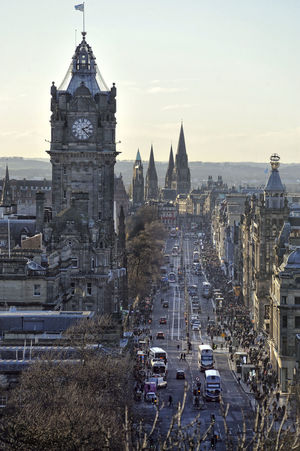 Looking down Princes Street from Calton Hill in Edinburgh, Scotland Balmoral Hotel Balmoral Hotel Edinburgh City Edinburgh Princes Street Road Scotland Shopping Winter Cold Landscape Street